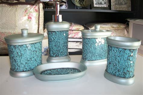 teal set of 5 mosaic bathroom vanity set stunning bathroom