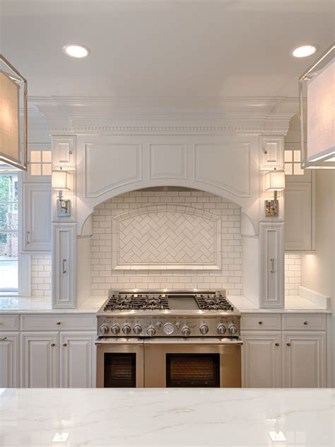 Stainless Steel Kitchen Backsplash Panels Arched Kitchen Hood Transitional Kitchen Andrew Roby