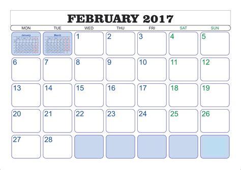 Kalender Februar February 2017 Printable Calendar Templates