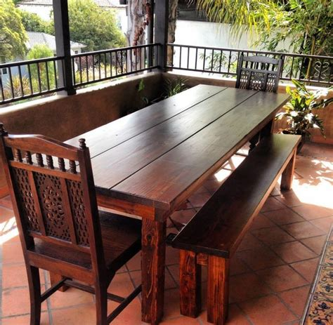 8ft Outdoor Farmhouse Dining Table   Rustic   Dining