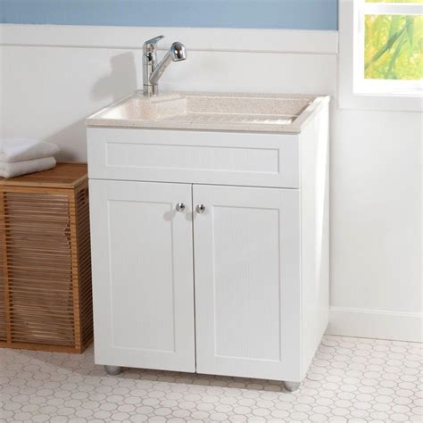 Simple Bathroom With White Wood Laundry Utility Sink White Wood Laundry