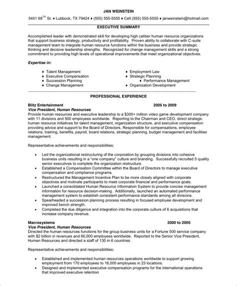 Resume Sles For Hr Executive Hr Executive Free Resume Sles Blue Sky Resumes