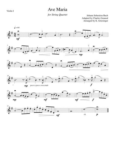bach gounod ave marig ave bach gounod string quartet sheet