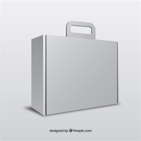 handle box template white box with handle template vector free