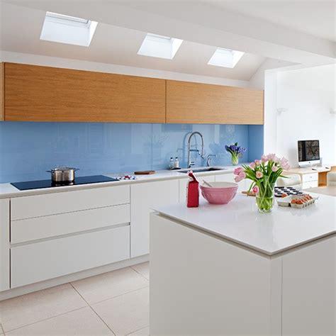modern kitchen splashbacks white modern kitchen with blue glass splashback design