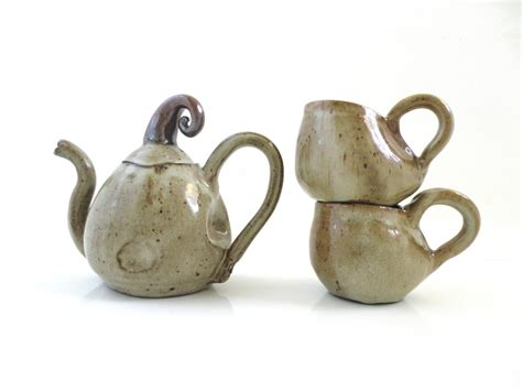 Handmade Ceramic Teapots - handmade ceramic teapot set with two cups by antwarepottery