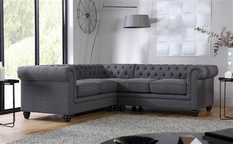Hton Slate Fabric Chesterfield Corner Sofa Only 163 1099 Corner Chesterfield Sofas