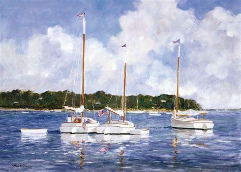 sailboat sign x ray seascape art print moored cat boats by ray ellis coastal