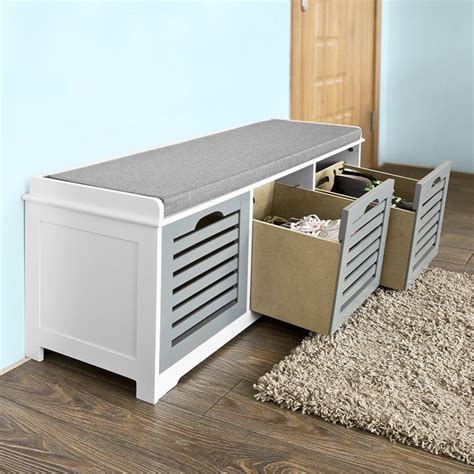 Sitting Bench With Drawers Sobuy 174 Storage Bench With 3 Drawers Shoe Cabinet With