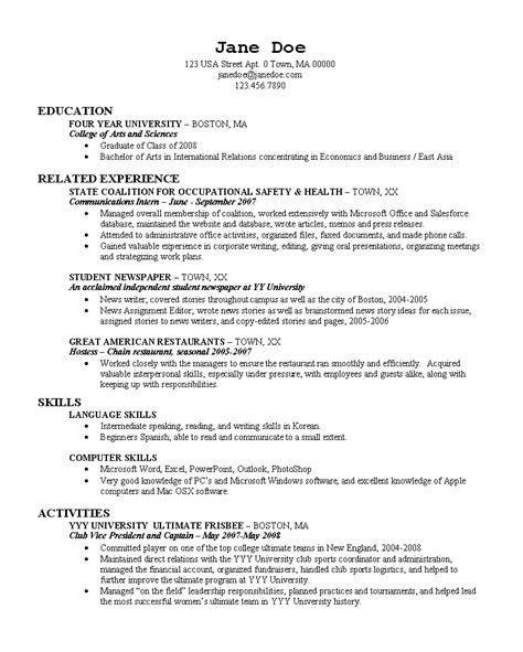 Resume Sles For College Grads College Grad Resume Page 1 Boston