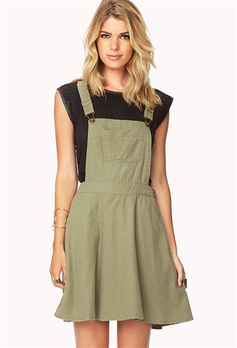 Dress Overall forever 21 in progress overall dress in green olive