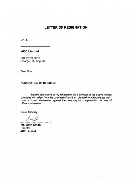 Format Of Acceptance Letter Of Resignation Of Director Sle Of Resignation Letter As A Director Resume Layout 2017