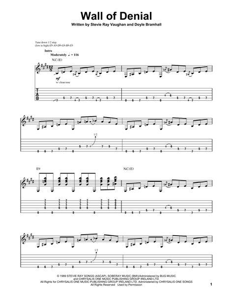 stevie ray vaughan wall  denial guitar tab sheetmusicdirectcom