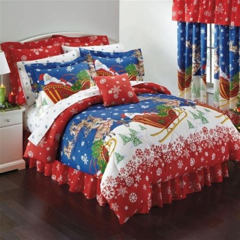 christmas comforter sets queen santa claus and reindeer christmas themed queen comforter