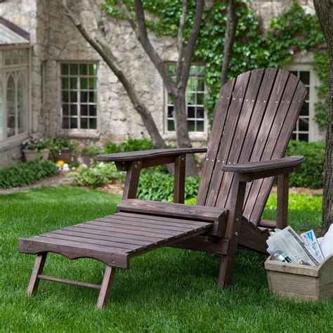 chair with built in ottoman brown wood adirondack chair with built in retractable
