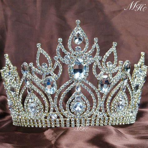 luxurious gold plated tiaras large wedding bridal crowns