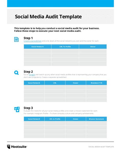 social media caign template social media audit template via hootsuite