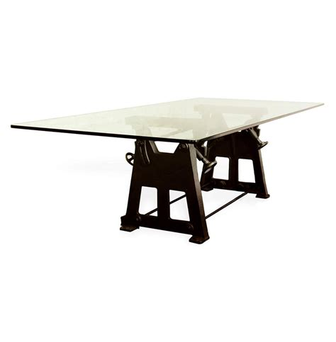 industrial glass dining table bartley industrial reclaimed cast iron glass dining table small