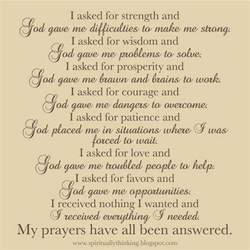 trustworthy sayings prayer for strength of faith during