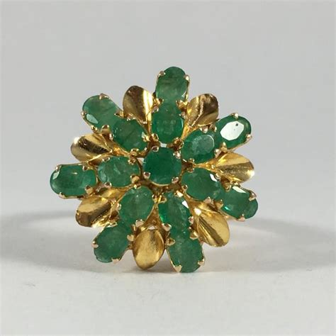vintage emerald cluster ring 14k yellow gold setting