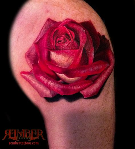 dark rose tattoo studio color realism by rember age studio tattoos