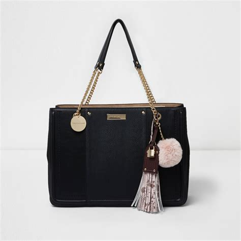 Chain Tote Bags Black black chain handle tassel structured tote bag shopper