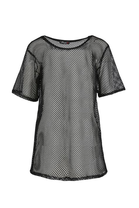 Crochet Oversized Shirt 11173 womens lace crochet t shirt sleeve baggy oversized mesh top uk 8 14 ebay
