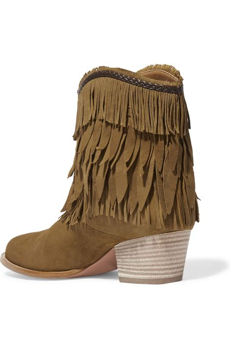 aquazzura boots aquazzura pocahontas fringed suede ankle boots in brown lyst