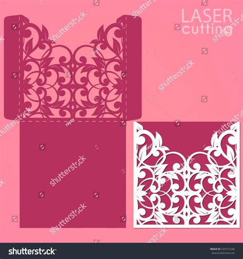 greeting card template for open laser die cut envelope template vector stock vector