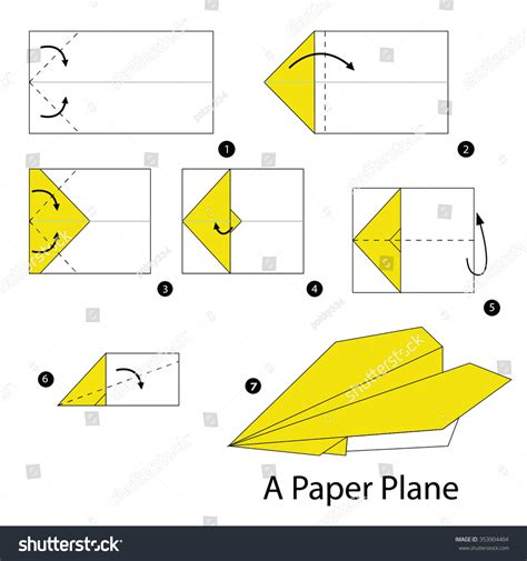 How To Make Origami Plane - step by step how make stock vector 353904404