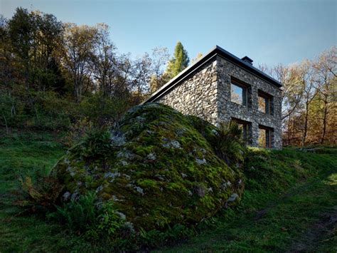 contemporary mountain cabin a modern mountain cabin with a rustic stone shell