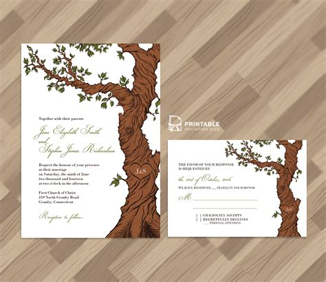 Fairytale Tree Rustic Invitation Template And Rsvp Wedding Invitation Templates Printable Tree Wedding Invitations Templates