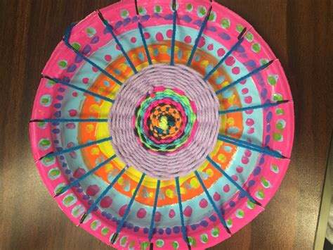 4th grade radial paper plate weaving river grove school