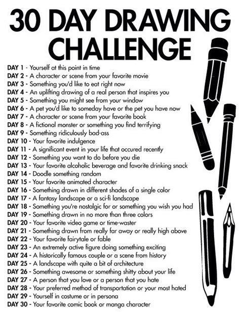 Sketches A Day by 30 Day Drawing Challenge Challenges