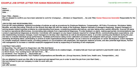 Offer Letter By Hr Temporary Human Resource Generalist Offer Letters