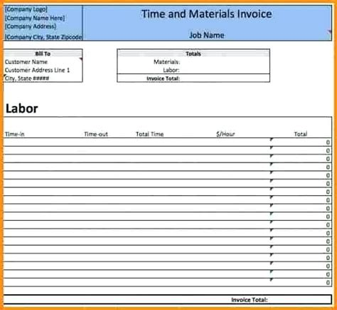 Time And Materials Invoice Time And Material Billing Sle Time And Material Invoice Time And Free Time And Material Template