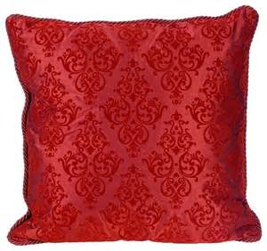 flocked 20 quot square burgundy decorative throw pillow