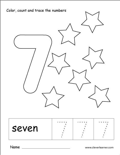 Number 7 Coloring Pages For Preschoolers by Number Seven Writing Counting And Recognition Activities