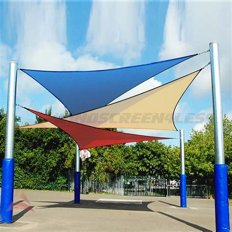 sail shaped awnings blue right triangle sun shade sail fabric cover patio pool