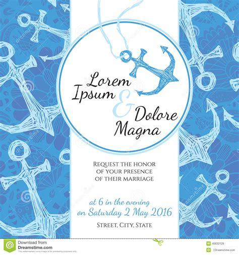 invitation wedding card  marine style vector stock