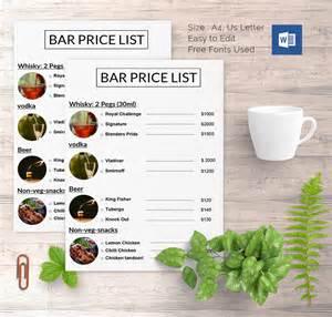 coffee price list template price list template 25 free word excel pdf psd