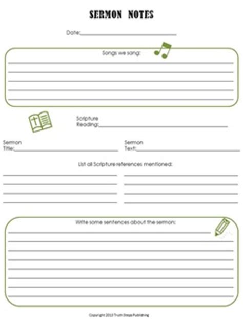 sermon notes template free resources steps publishing