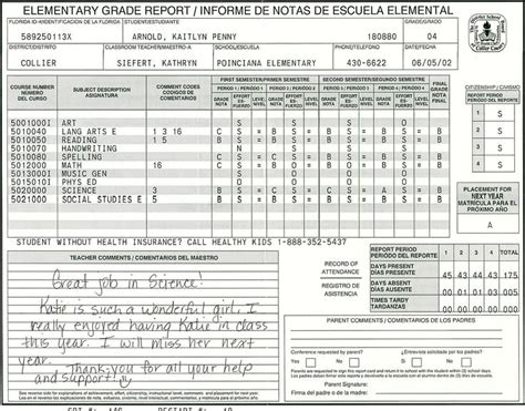primary school report cards template elementary school report card template homeschooling