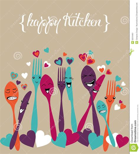 Custom Home Plans And Prices happy kitchen silverware cartoon set stock image image