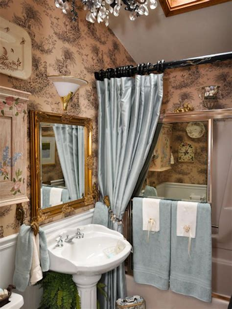 black and white toile wallpaper bathroom this elegant bathroom sports tan and black toile wallpaper