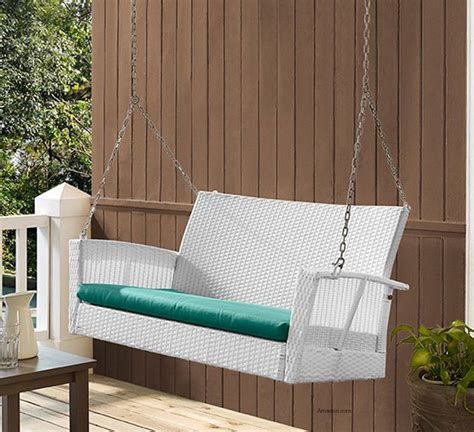 white wicker porch swing wicker porch swings always refined reminiscent and romantic
