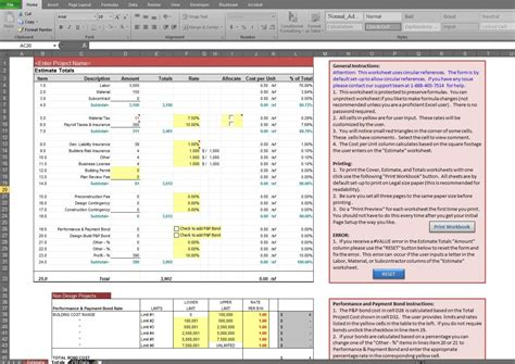 construction estimate estimate spreadsheet template spreadsheet templates for