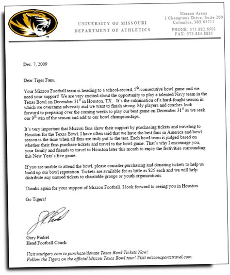 Parent Letter Basketball Mizzou Alumni Association A Letter From Coach Pinkel To Mizzou Fans