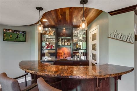 Basement Wet Bar Curved Counter   Finished Basement Company