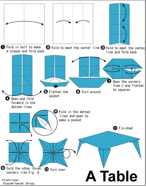 How To Make An Origami Table - table easy origami for